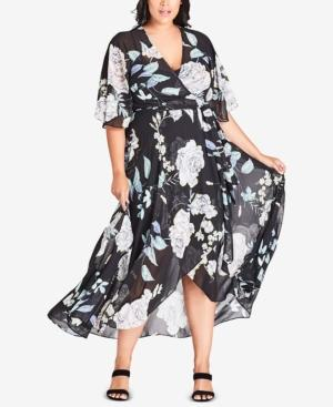 City Chic Trendy Plus Size Printed Maxi Wrap Dress In Flower Show