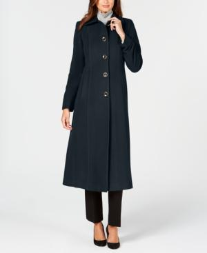 Anne Klein Single-breasted Maxi Coat In Navy