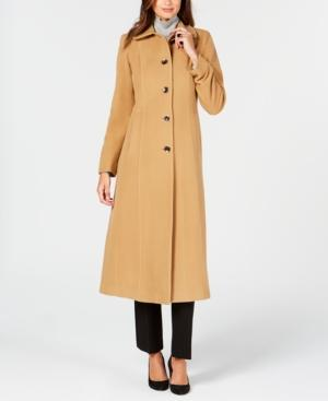 Anne Klein Single-breasted Maxi Coat In Camel