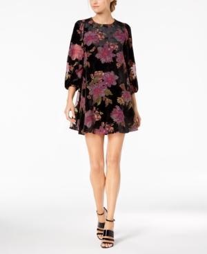 Calvin Klein Floral Burnout Velvet Shift Dress In Black Multi