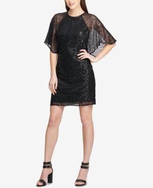 Dkny Cape-sleeve Sheath Dress, Created For Macy's In Black/black