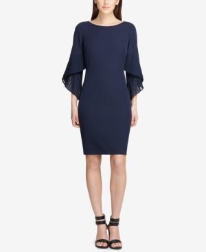 Dkny Pleated Bell-sleeve Sheath Dress, Created For Macy's In Navy