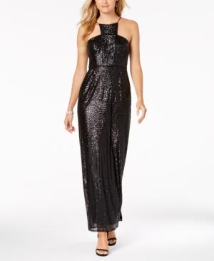 Adrianna Papell Sequin Cutaway Gown In Black