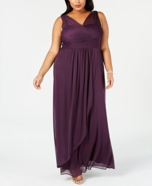 Adrianna Papell Plus Size Draped Embellished Gown In Currant