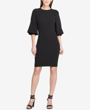 Dkny Balloon-sleeve Sheath Dress, Created For Macy's In Black