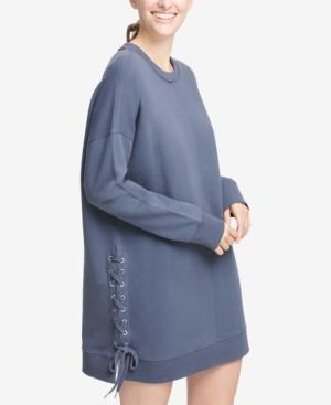Dkny Sport Logo Lace-up Sides Dress In Odyssey