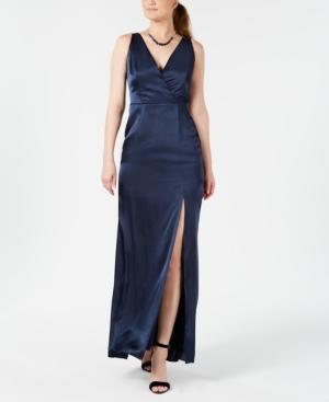 Adrianna Papell V-neck Satin Slit Gown In Midnight