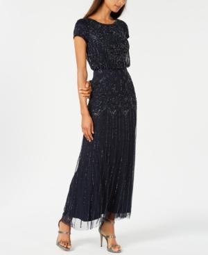 Adrianna Papell Beaded Short-sleeve Gown In Navy