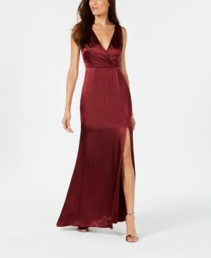 Adrianna Papell V-neck Satin Slit Gown In Deep Wine