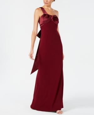 Adrianna Papell Bow-embellished One-shoulder Gown In Garnet