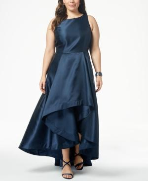Adrianna Papell Plus Size High-low Mikado Gown In Midnight