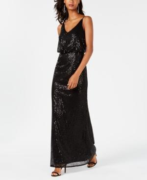 Adrianna Papell Sequined Blouson Gown In Black