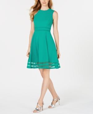 Calvin Klein Illusion-trim Fit & Flare Dress In Emerald