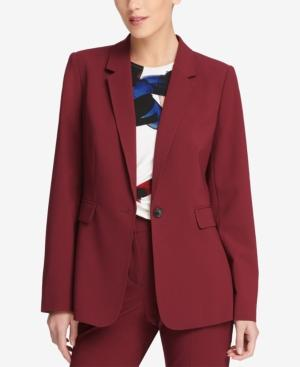 Dkny One-button Notch-collar Jacket In Cabernet