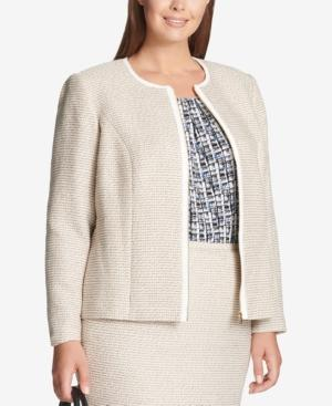 Calvin Klein Plus Size Tweed Zip Jacket In Oyster Multi
