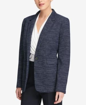 Dkny Knit One-button Jacket, Created For Macy's In Blue Multi