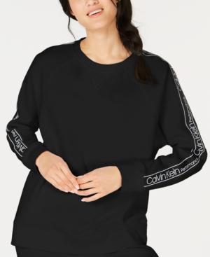 Calvin Klein Performance Logo-sleeve Fleece Sweatshirt In Black
