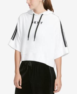 Dkny Sport Bell-sleeve Cropped Velour Hoodie In White