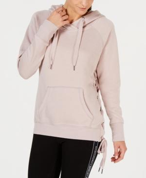 Calvin Klein Performance Lace-up Side Hoodie In Evening Sand