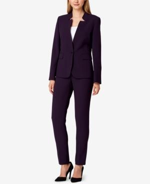 Tahari Asl Notched-lapel Pantsuit In Eggplant