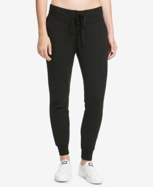 Dkny Sport Sparkle Logo Fleece Joggers In Black