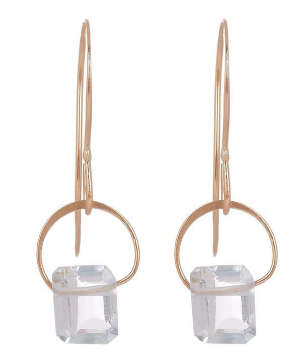 Melissa Joy Manning Gold Emerald Cut Aquamarine Drop Earrings