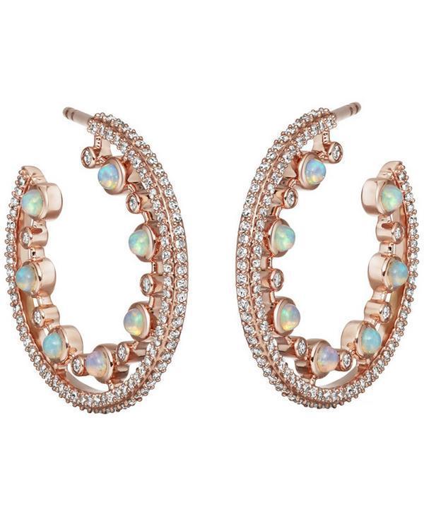 Astley Clarke Rose Gold Icon Nova Large Opal Hoop Earrings