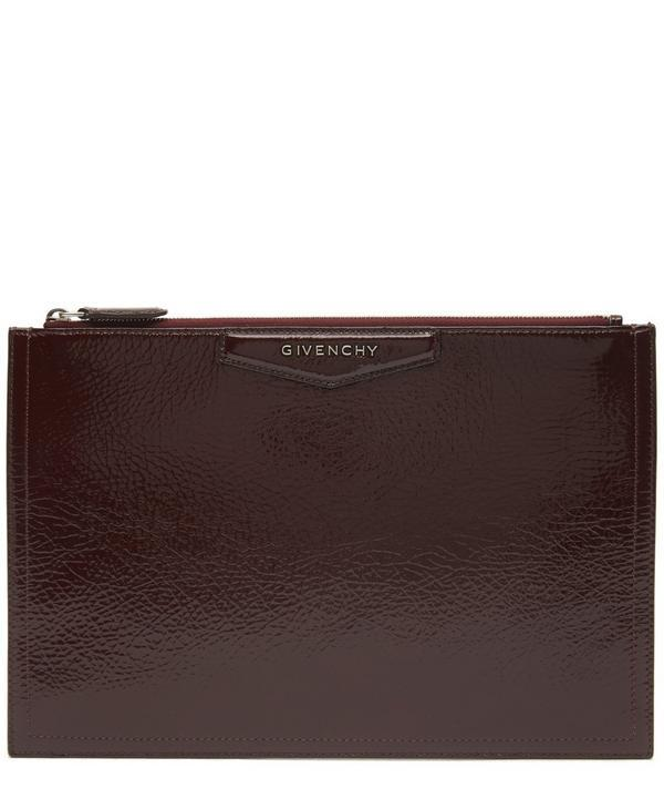 Givenchy Antigona Patent Creased Leather Pouch In Violet