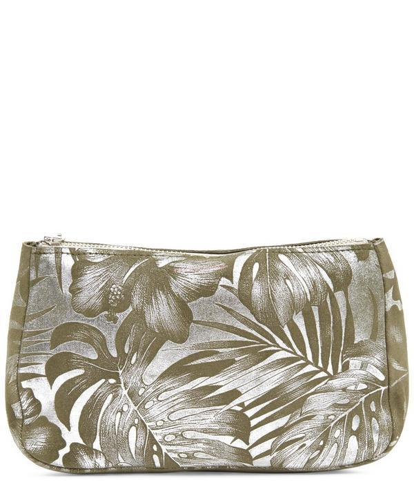 Tracey Tanner Palm Fatty Large Suede Pouch In Palm Leaf