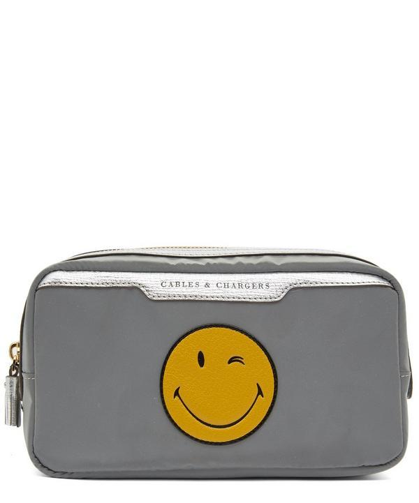 Anya Hindmarch Wink Cables And Chargers Reflective Nylon Zip Pouch
