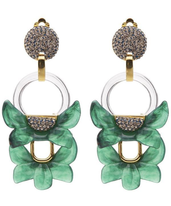 Lele Sadoughi Rio Crystal Floral Drop Clip-on Earrings In Brown