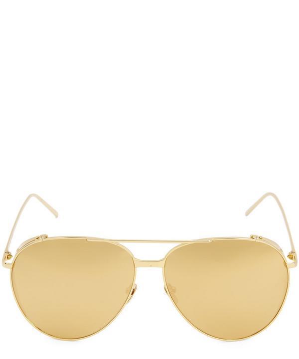 Linda Farrow 425 C118k Sunglasses In Sun Gold