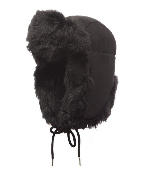 Charlotte Simone Helmet Head Faux Fur And Suede Trapper Hat In Black
