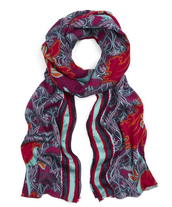 Liberty London Lewellyn Nouveau 70x180 Jacquard Wool Blend Scarf In Pink
