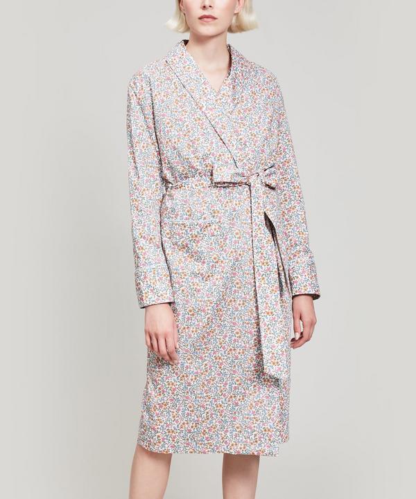 Liberty London Emilias Bloom Tana Lawn Cotton Long Robe In Cream