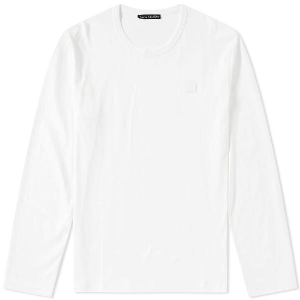 Acne Studios Nash Long Sleeve Cotton T-shirt In White