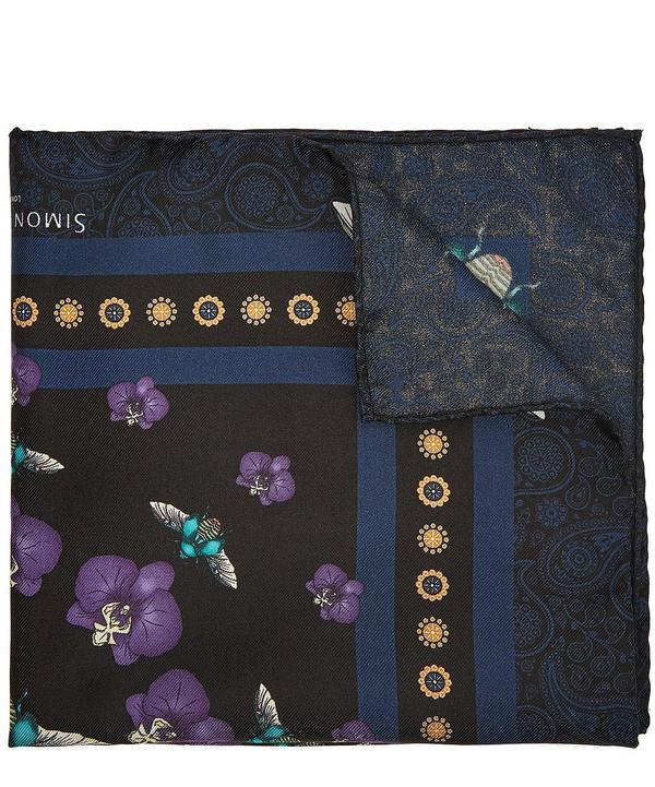 Simon Carter Scarab Orchid Pocket Square In Blue