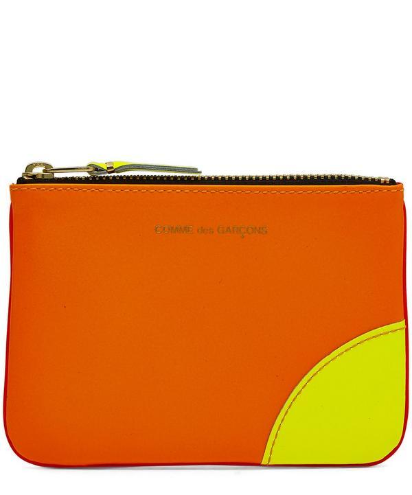 Comme Des Gars Fluro Small Zip Pouch In Pink