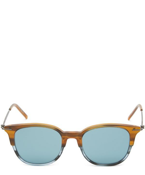 Tomas Maier Round Stripe Mirrored Sunglasses In Blue