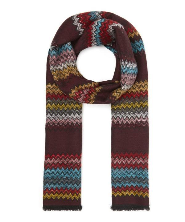 Missoni Block Panel Multicolour Zig Zag Scarf In Red
