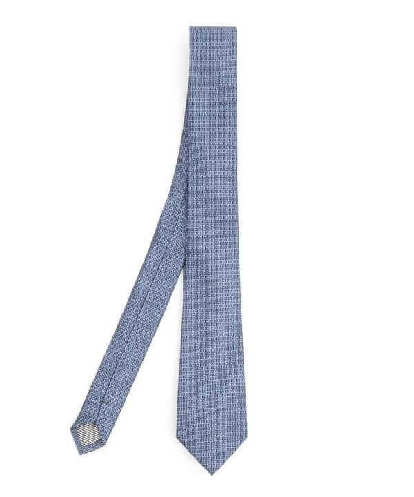 Simon Carter West End Squiggle Silk Tie In Blue