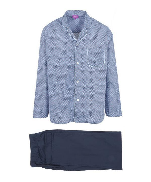 Liberty London Juno Long Tana Lawn Cotton Pyjama Set In Blue