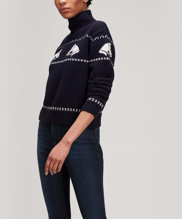 Alexa Chung Horse Turtle Neck Jumper In Navy