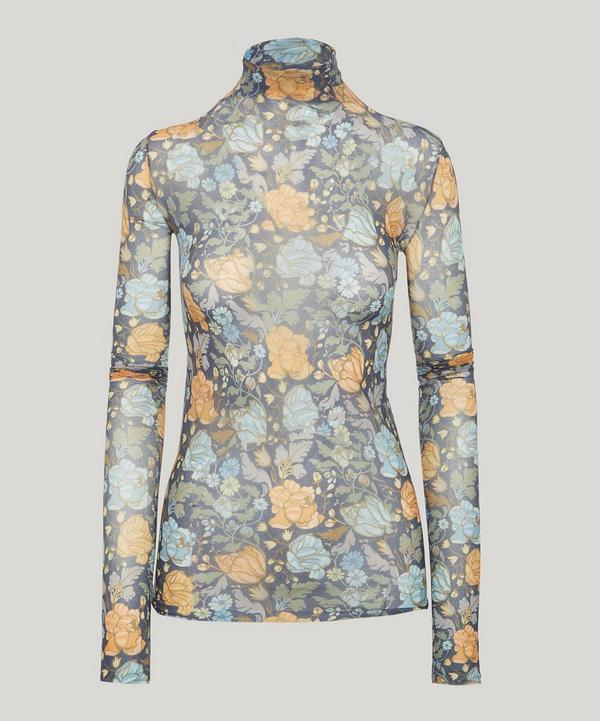 Acne Studios Floral Print Roll Neck In Blue