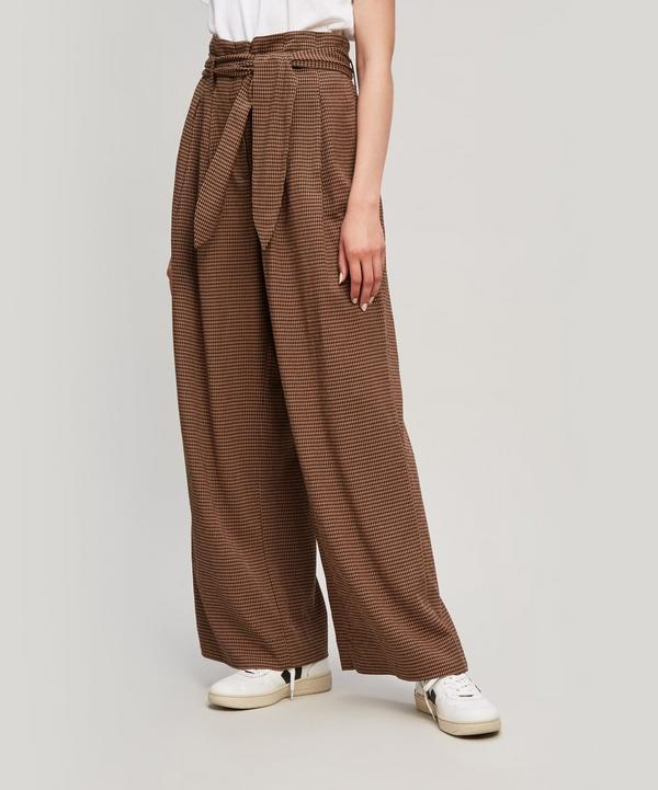 Nanushka Nevada Gingham Woven Wide-leg Pants In Brown