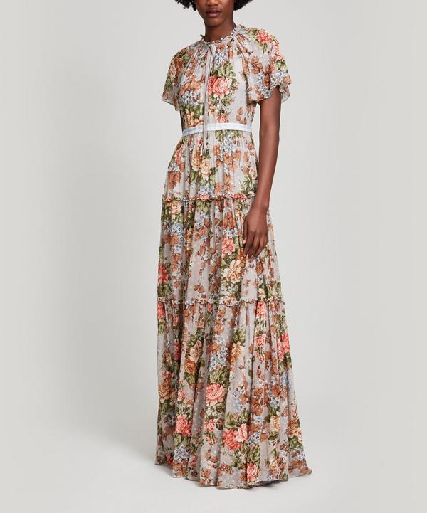 Needle & Thread Paradise Rose Maxi Gown In Blue