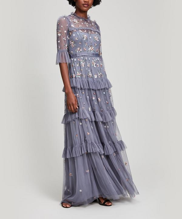 Needle & Thread Lustre Butterfly Maxi Gown In Blue