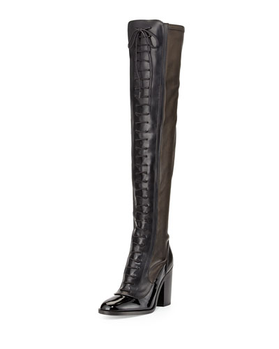 Laurence Dacade Idylle Over-The-Knee Lace-Up Boot, Black
