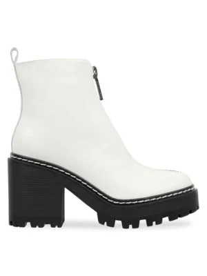 Kendall + Kylie Kkjace Leather Ankle Boots In Ivory