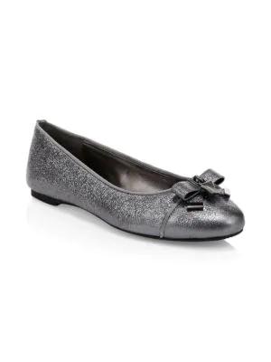 Michael Michael Kors Alice Metallic Leather Ballet Flats In Anthracite